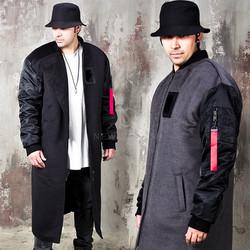 Contrast sleeves wool bomber long coat