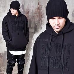 Shearling lettering black hoodie