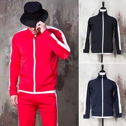 Side long striped zip-up jacket