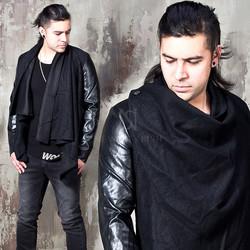 Leather sleeves contrast ruffle shawl jacket