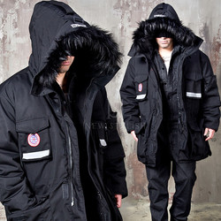 Fur hooded duck down long parka