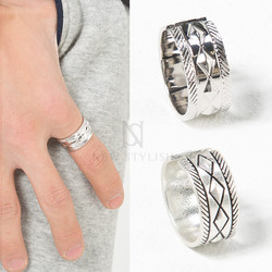 Diamond patterned silver ring