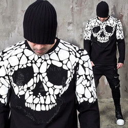 Contrast skull studded sweatshirts