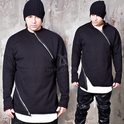 Double diagonal zippered black shirts