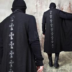 Celtic cross ruffle shawl long coat