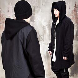 Front opening contrast back zip-up hoodie