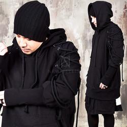 Eyelet shoulders bending hem hoodie