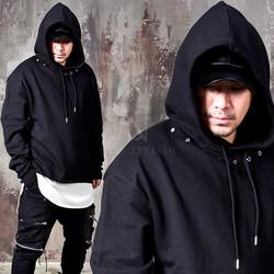 Eyelet hole accent black hoodie  K-ros is wearing