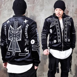 Unique emblem patchwork velour zip-up jacket