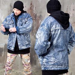 Distressed paint stain oversized denim jacket
