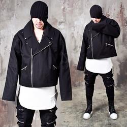 Black crop fit extra long sleeves rider jacket