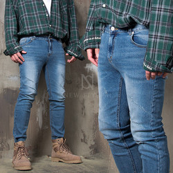 Scratch accent washed slim denim jeans