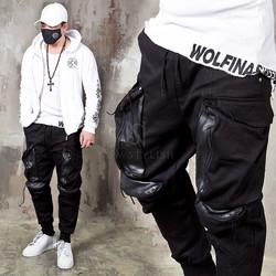 Leather contrast 4 big pocket bending pants