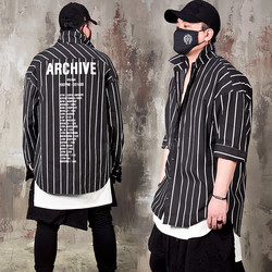 Lettering printed striped loose shirts