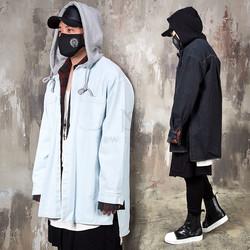 Loose fit plain denim hooded shirts