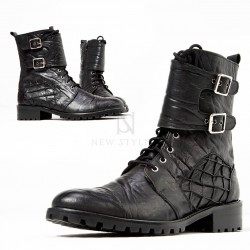 Elephant patterned leather biker boots