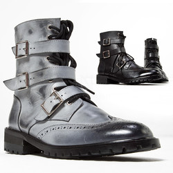 Triple belted lace-up wing-tip boots