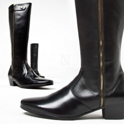 Long gold zipper high heel long leather boots
