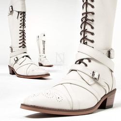 Wrap belted lace-up straight tip white long boots