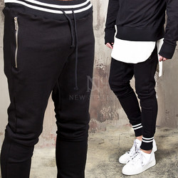 White contrast striped accent sweatpants