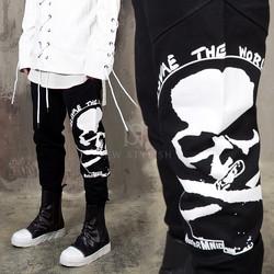 Big skull printed black sweatpants
