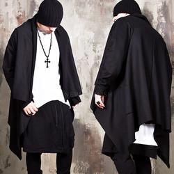 Asymmetric black long shawl cardigan