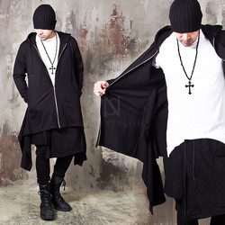 Double tail long zip-up hoodie