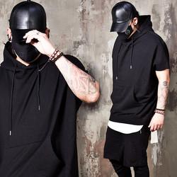 Boxy ray black short sleeves hoodie
