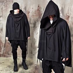 Avant-garde big poncho hoodie