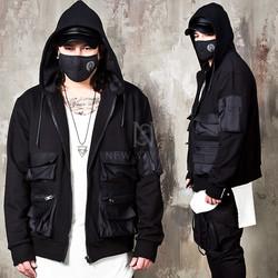 Multiple cargo pockets black zip-up hoodie