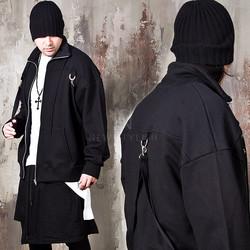 Black belted zip-up jacket