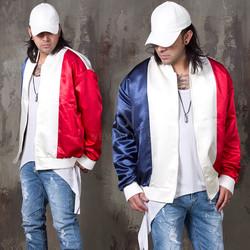 Color contrast shiny zip-up jacket