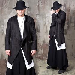 Ruffle shawl linen black long jacket