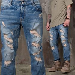 Plain washed blue denim skinny jeans