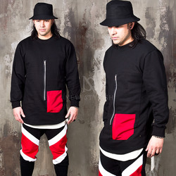 Zipper red pocket black shirts