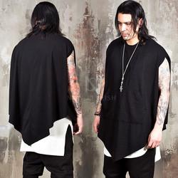 Unbalanced black cape shirts
