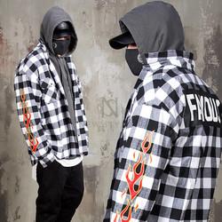 Flare printed sleeves checkered loose shirts