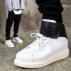 Contrast band strap chunky sole high-top sneakers
