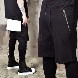 Leggings attached short sweatpants