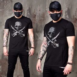 Sparkling beads pirates skull slim t-shirts