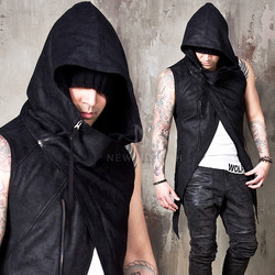 Crack fabric high-neck slim zip-up vest