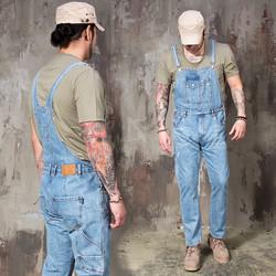 Distressed retro light blue denim overalls - 373