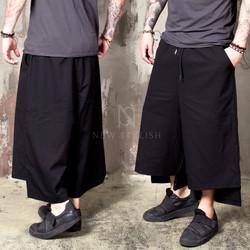 Unbalanced cut hem black wide banding pants