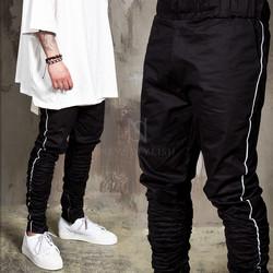 Side lined shirring banding pants