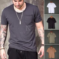 Distressed U-neck t-shirts