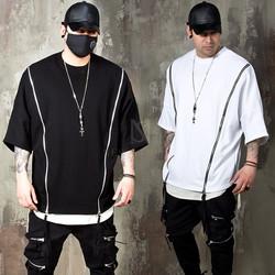 Double diagonal zipper boxy t-shirts