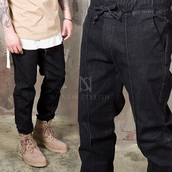 Charcoal black baggy banding jeans