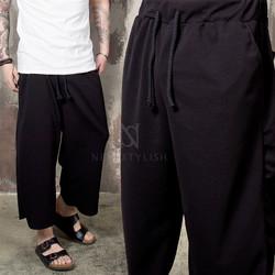 Embossed black wide crop banding pants