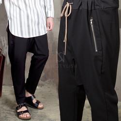Low crotch zippered pocket baggy banding pants