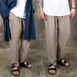 Pintuck wide linen banding pants - 222